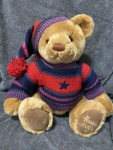 """Harrods 2004 Teddy Bear Knitted Shirt & Hat Holiday Collectible 14"""" Plush"""