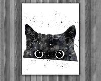 Cat Watercolor Print, Black Cat Art, Black Cat Painting, Nursery Painting