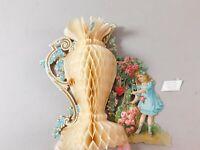 Vintage German Die Cut Out Valentine's Day card. Honeycomb White Urn Vase w Girl