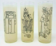 Set of 3 1970s Vintage Frosted Cool It Drink Glasses Collins Funny Superior