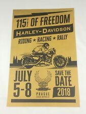 RARE Harley Davidson 115 Years of Freedom Poster Prague Czech Republic 2018 NEW