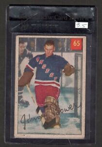1954-55 Parkhurst Johnny Bower Rookie Card #65  Graded 3.5