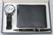 Vintage COTE D'AZUR BOXED SET Quartz WATCH ~ Black WALLET AND PEN, ORIG. $89.99