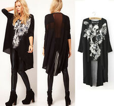 Women's Rock Skull Punk Dress Cross Oversized Bat Asymmetric Loose Top Blouse