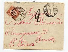 STORIA POSTALE 1919 REGNO BUSTA CON POSTA MILITARE 70 TASSATA X 20 C. 2/6 Z/2670