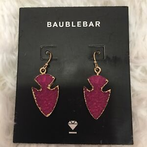 Baublebar Pink Druzy Arrowhead Drop Earrings