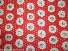 Telas y tejidos florales color principal rojo para costura y mercería