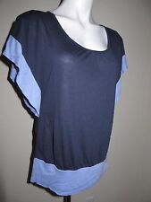 ❤️ NWT Dark Blue Light Blue NEW YORK & COMPANY Shirt Pullover Top Butterfly XS