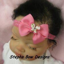 Hot Pink Butterfly Dainty Hair Bow Headband fits Preemie Newborn 2 Toddler Cute