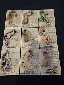 SHANE WARNE 1996 Futera  9 Card Puzzle Set Cricket Cards