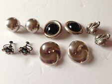Vintage Sterling 925 Lot Of Clip On Earrings Screw Back Onyx 5 Pairs Mexico