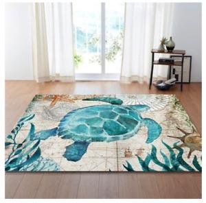 Emerald Ocean turtle Non Slip Rug Carpet 80 x 160CM Elegant