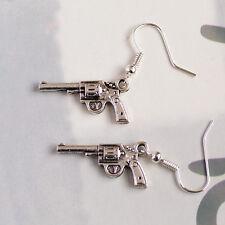 Vintage Silver Plated Gun Pistol Charm Earrings, Rocker & Western