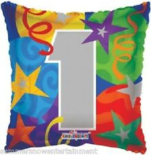 """ONE """"1"""" 1st #1 Number Square Shaped (1) 18"""" Colorful Birthday Party Balloon"""