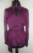 PRINCIPLES Plum Silk Frill Detail Formal Wrap Shirt/Blouse in Size 12 *BNWT*