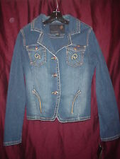 LADIE'S/JUNIOR'S (ROCA WEAR) BLUE DENIM JEAN JACKET/COAT/BLAZER SZ. LARGE (NEW)