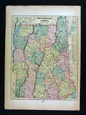 1899 Northrup Map  Vermont & New Hampshire - Concord Montpelier Mount Washington