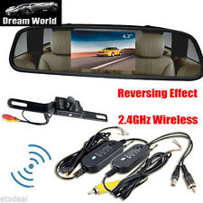 "4.3"" TFT LCD Monitor Car Rearview Wireles Backup Reverse Camera Kit Night Vision"