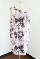 Tahari ASL Levine Womens Pink Gray Graphic Floral Printed Scuba Dress Size 18W