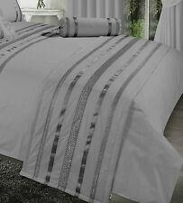 Gris / Silver Ribbon 200 Hilos hotel calidad elegante Acolchado Cama Runner