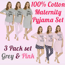 Womens Ladies 100% Cotton Maternity Pyjama Set Nightie Tee Shorts & Pants 3 Pack