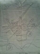 New listing Flower Bowl rug hooking pattern Monk's Cloth folk art primitive floral 28X37 New
