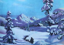 Sled Dogs Cabin Winter Frederick Ogden vintage art