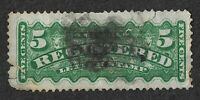Canada: 1875 5c Green REGISTRATION STAMP Used SG R6 Flaws