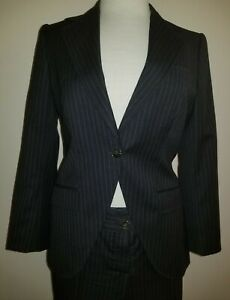 Dolce &Gabbana Wool Suit Dark Grey Striped Pants And Jacket Size 44