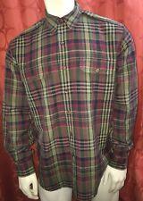 L Vintage Polo Ralph Lauren Linen Silk Mint Green Burgundy Epaulets Safari Shirt