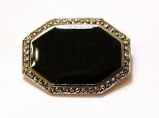 Black Flat Bead Octagonal Marcasite Silver Tone Frame Brooch Pin