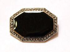 Silver Tone Frame Brooch Pin Black Flat Bead Octagonal Marcasite