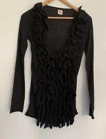 NOLITA Detailed Black Ruffle Long Sleeve Knit Jumper AU 8