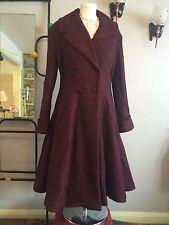 Donna Vintage 1940s/50s Stile Fit E Flare Cappotto Di Lana in Borgogna screziato
