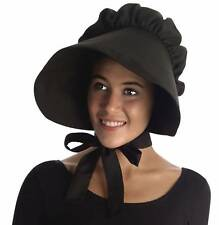 Black Pioneer Women's Bonnet Hat Wide Brim Adult Prairie Costume Accessory Amish
