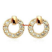 18k Rose Gold Filled Women Circle Stud Earring Made With Swarovski Crystal XE91