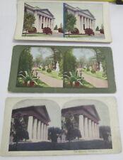 3 Stereoview Stereoscope Cards ARLINGTON VA CEMETARY WASHINGTON DC Tinted 1925
