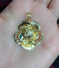 14k Solid Yellow Gold 3D Cute Flower Charm/ Pendant. Diamond Cut. 5.52 Grams