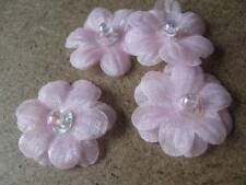 Mini Chiffon Daisy Head with Sequin & Bead Centre - Pack of 5 - Pink