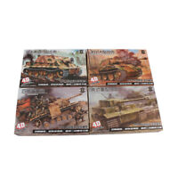 1:72 4D Model WWII 4pcs Tank Models Military Collections Assemble Model Kit