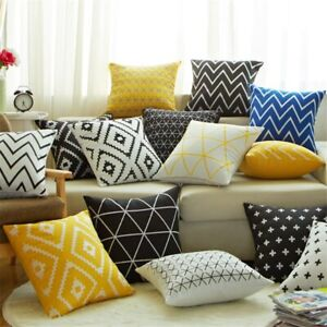 Geometric Style Cushion Cover Triangles Striped Print Sofa Throw Pillow Cover