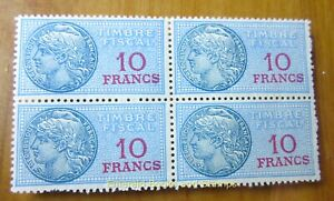 EBS France 1936-1958 - Fiscal - 10 F - Timbre fiscale - YT TF 142 MNH** BLOCK 4