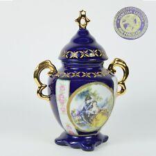 Antico Vaso potiche in porcellana a fiori blu e oro con coperchio dipinto a mano