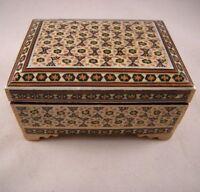 Persian Art Khatam Handmade Marquetry Jewellery Micro Mosaic Inlaid Trinket Box