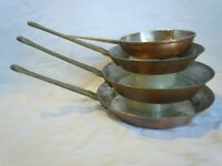 "SET OF 4 HAMMERED COPPER SKILLETS SAUTE PANS LINED 6"",7"",9"",10"" BRASS HANDLES"