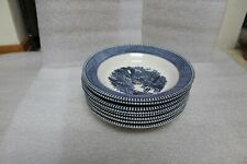 """8 Currier & Ives Royal China Blue """"Early Winter"""" Skating Soup Cereal Bowls 8 ½"""""""