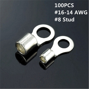 100PCS #16-14 AWG #8 Stud Non-Insulated Wire Ring Terminal Connectors Terminal
