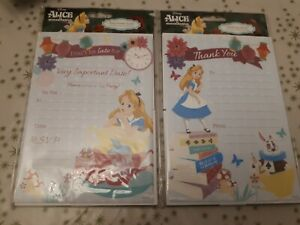 Brand New Pack of 20 Alice in Worderland Party Invitations & 20 Thank you Notes