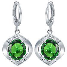 Women 925 Silver Emerald Dangle Drop Hook Earrings Bridal Engagement Jewelry