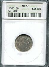 GREAT BRITAIN - FANTASTIC QV SILVER SIXPENCE, 1885, KM# 757, ANACS AU 58